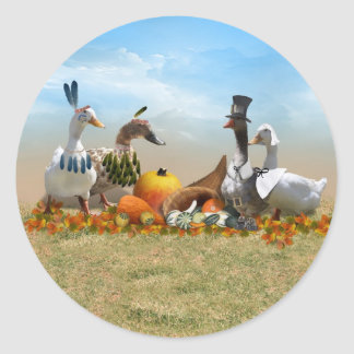Thanksgivingankor - vallfärdar & indier runt klistermärke