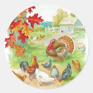 Thanksgivingdagklistermärke Runt Klistermärke