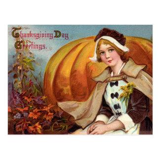 Thanksgivingen vallfärdar flickan med pumpa vykort