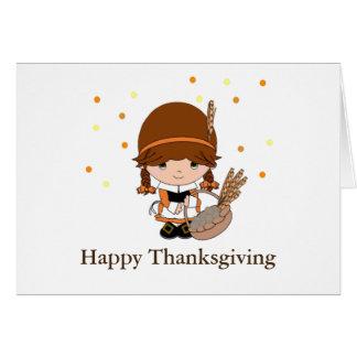 Thanksgivingen vallfärdar lite flickan hälsningskort