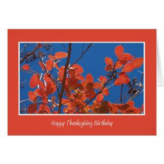 Thanksgivingfödelsedag -- Höst löv Hälsningskort