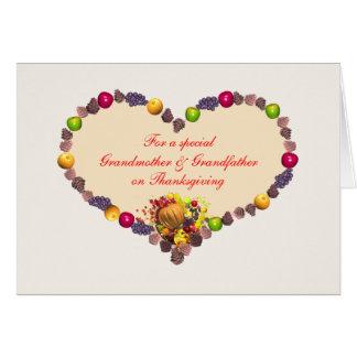 Thanksgivinghjärta - farmor och farfar hälsningskort