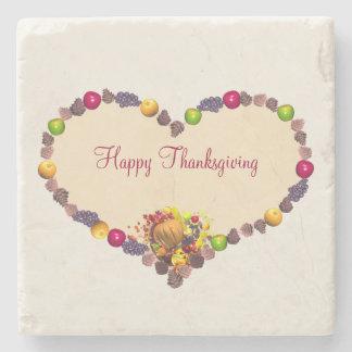Thanksgivinghjärta och ymnighetshorn underlägg sten