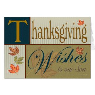 Thanksgivingkort med nedgånglövverk för Son Hälsningskort