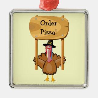 ThanksgivingPizza (anpassadet) Julgransprydnad Metall