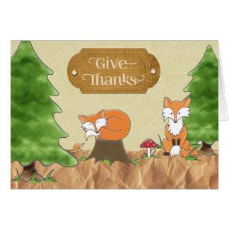 ThanksgivingScrapbook-look skogen med rävar Hälsningskort