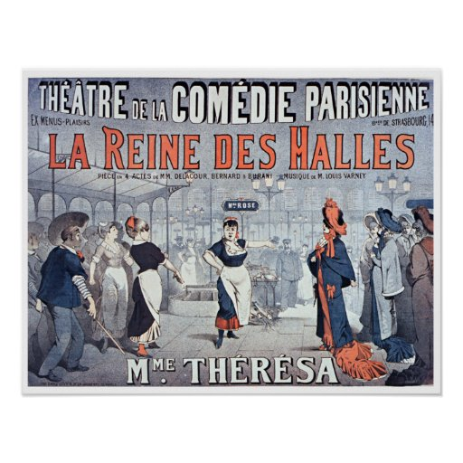 Theatre för komedi för vintageLaReine des Halles Poster