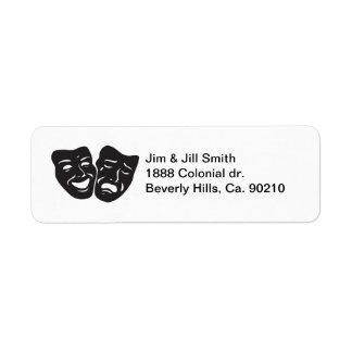 Theatren för komeditragedidramat maskerar returadress etikett