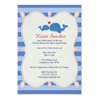 Themed baby showerinbjudan för sött val 12,7 x 17,8 cm inbjudningskort