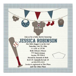 Themed baby showerinbjudningar för baseball fyrkantigt 13,3 cm inbjudningskort