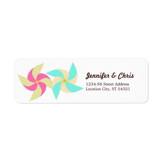 Themed bröllop för färgrik Pinwheel Returadress Etikett