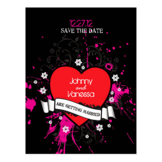 Themed bröllop för svart & för rosa Grungy Vykort