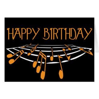 Themed födelsedagkort för musik - orange kort