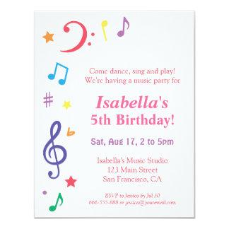 Themed födelsedagsfest för färgglad regnbågemusik 10,8 x 14 cm inbjudningskort
