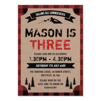 Themed födelsedagsfest inbjudan för Lumberjack