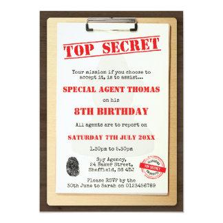 Themed födelsedagsfest inbjudan för spion