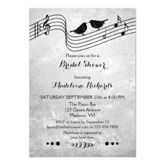 Themed möhippainbjudan för svartvit musik 12,7 x 17,8 cm inbjudningskort