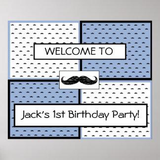 Themed mustasch för födelsedagbaneraffisch poster