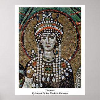 Theodora vid ledar- av San Vitale i Ravenna Poster