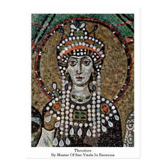 Theodora vid ledar- av San Vitale i Ravenna Vykort