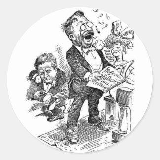 Theodore Roosevelt 1912 politiska tecknad Runt Klistermärke