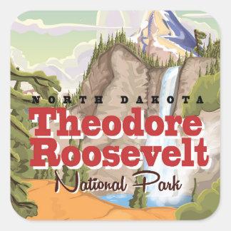 Theodore Roosevelt parkerar vintage resoraffischen Fyrkantigt Klistermärke