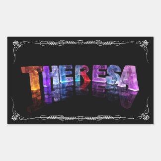 Theresa - den kända Theresaen i 3D tänder Rektangulärt Klistermärke