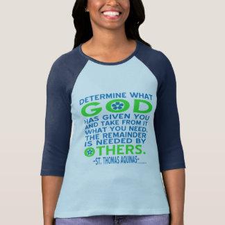 Thomas Aquinas gud given blått och grönt Tee Shirt