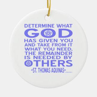 Thomas Aquinas gud givna lätt - blått Rund Julgransprydnad I Keramik