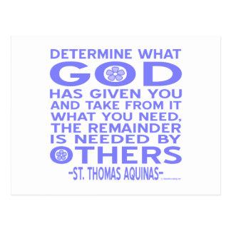 Thomas Aquinas gud givna lätt - blått Vykort