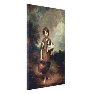 Thomas Gainsborough - byflicka med hunden Canvastryck
