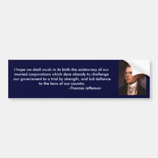 Thomas Jefferson beskådar på korporationer Bildekal