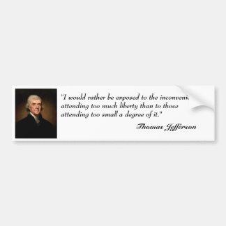 Thomas Jefferson citationstecken på bildekal