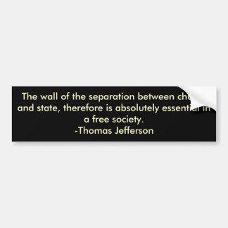 Thomas Jefferson på avskiljande av kyrkan & påstår Bildekal