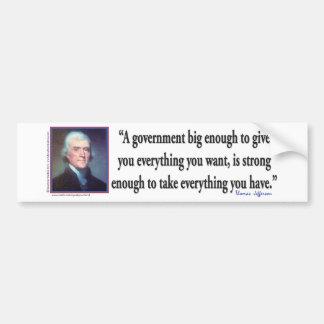 Thomas Jefferson på en stor regering Bildekal