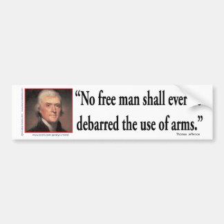 Thomas Jefferson på vapenrättigheter Bildekal
