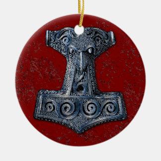 Thor'sen Bultar-Mjölnir i blått på rött Julgransprydnad Keramik
