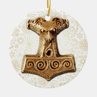 Thor'sen Bultar-Mjölnir i guld - prydnad Julgransprydnad Keramik
