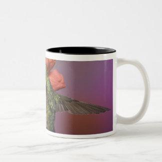 Throated Hummingbird för kvinnlig Ruby i flyg, Två-Tonad Mugg