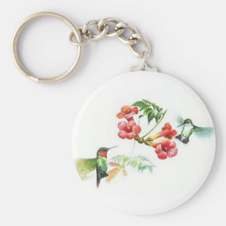 Throated Hummingbirds Keychain för Ruby Rund Nyckelring