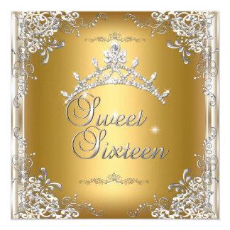 Tiara för silver för vit för guld 16 för sweet fyrkantigt 13,3 cm inbjudningskort