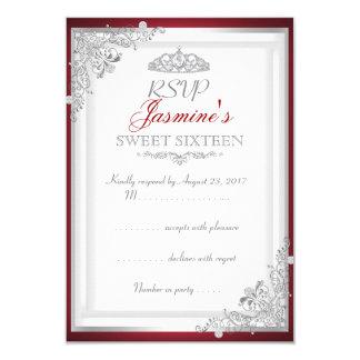 Tiara söta 16 för rött silver för OSA damastast 8,9 X 12,7 Cm Inbjudningskort