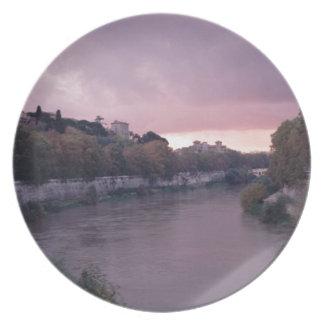 Tiber flod på solnedgången TWurl Tallrik