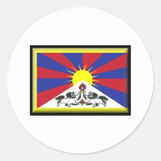 Tibet flagga runt klistermärke