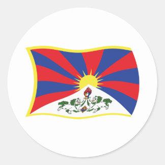 Tibet flaggaklistermärke runt klistermärke