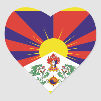 tibet hjärtformat klistermärke