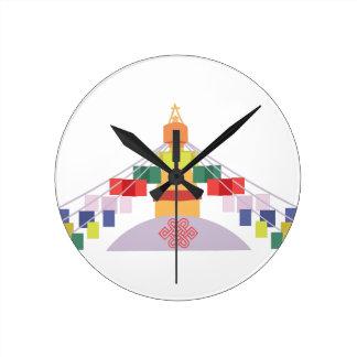 Tibetan bönflaggor rund klocka