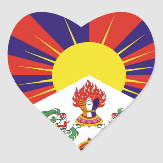Tibetan fri Tibet flagga - ་ för བཙན för ་ för རང Hjärtformat Klistermärke