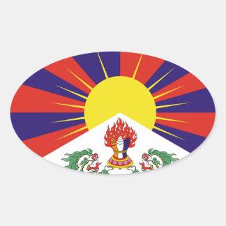 Tibetan fri Tibet flagga - ་ för བཙན för ་ för རང Ovalt Klistermärke