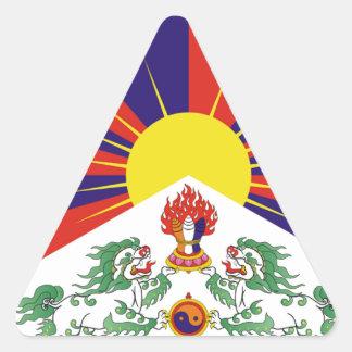 Tibetan fri Tibet flagga - ་ för བཙན för ་ för རང Triangelformat Klistermärke